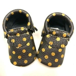 Gold Polka Dot Black Baby Moccasins Shoes Size 3